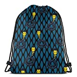 GeorgoaKunk Mochila con cordón Azul Cobra Snake 3D Print String Bag Mochila Cinch Tote Bags Regalos para Mujeres Hombres Gimnasio Compras Deporte Yoga