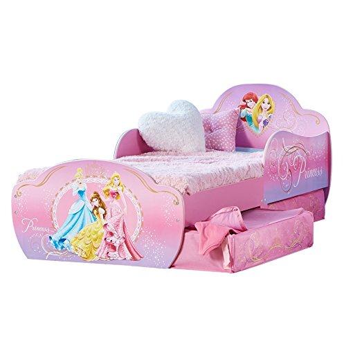 Disney Princess di HelloHome- Lettino con Contenitore Sottoletto, Per Bambini da 18 mesi a 5 anni