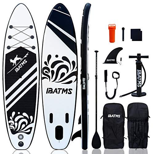 IBATMS Planche de paddle gonflable avec accessoires de SUP Premium et sac à dos, pont antidérapant, sac étanche, laisse, nageoire, pagaie et pompe