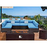 Outdoor Sectional 8-Piece Dark Brown Wicker Sofa Patio Furniture Set w 60,000 BTU Rectangle Fire Pit Table Wind Glass Guard, 2 Stripe Pillows, Denim Blue Cushions, Weatherproof Cover for Backyard