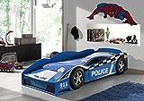 Vipack Toddler LIT Voiture Police 70x140, MDF, Bleu Piscine