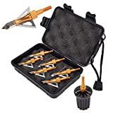 NIKA ARCHERY 100 Grain Broadheads 3 Fixed Steel Blade with Broadhead Case, Wrench, fit for Compound Bow and Crossbow