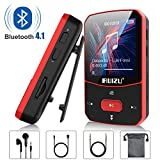 Clip Mp3 Player with Bluetooth 4.1, 8GB Lossless Sound Music Player with FM Radio Voice Recorder Video Earphones for Running, Support up to 128GB(Red)