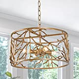 """Durent Lighting Antique Copper Chandelier, Round Brass Light Fixture with Tree Branch Lampshade, 4-Light Height Adjustable Ceiling Light, Dia 15.5"""" for Dining & Living Room, Bedroom, Foyer"""
