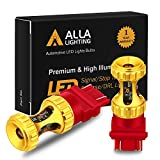 Alla Lighting 3156 3157 LED Red Bulbs 3000lm Extreme Super Bright Turn Signal Stop Brake Tail Lights for Cars, Trucks, Motorcycles T25 3057 3457 4157 4057