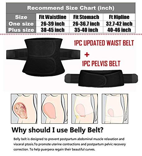 2 in 1 Postpartum Support Recovery Belly Wrap Waist/Pelvis Belt Body Shaper Postnatal Shapewear,Plus Size 3