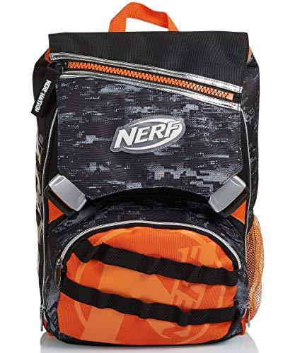 Zaino Estensibile Big Nerf, Nerf Nation Unica, Nero e Arancione, Scuole Elementari e Medie