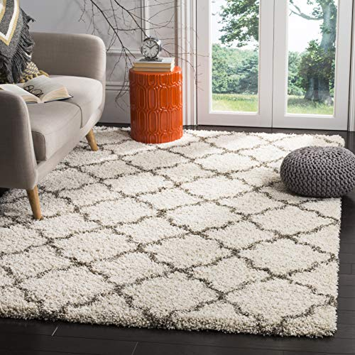 SAFAVIEH Hudson Shag Collection SGH282A Moroccan Trellis Non-Shedding Living Room Bedroom Dining Room Entryway Plush 2-inch Thick Area Rug, 9' x 12', Ivory / Grey