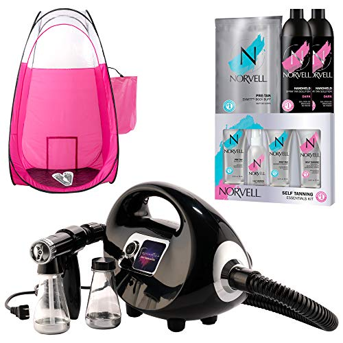 Naked Sun Black Fascination Spray Tan Machine and Norvell Sunless Airbrush Tanning Solution with Disposable Adhesive Feet and Extra Large Professional Pink Pop Up Tent Bundle (5 Items)