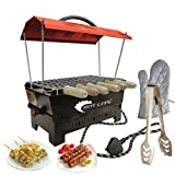 Hot Life Camping Barbecue Grill, Tandoor, Toaster, Roaster/Fully Electric & Charcoal/Compact & Portable, Large Size, Red Electric Grill with 6 Wooden Handle Skewers,Hand Gloves & Tong