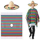 SATINIOR Mexican Serape Poncho Costume Mexican Sombrero with Rainbow Serape Edge and Band (Adult)