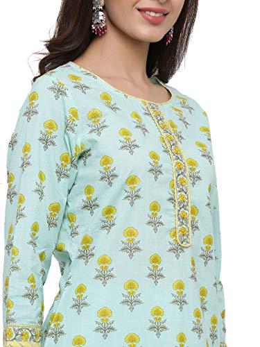 RAJMANDIRFABRICS-Womens-Cotton-Floral-Printed-Straight-Kurta-Pant-and-Dupatta-Set-Sea-Green