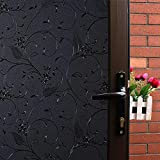 Mikomer Little Flowers Total Blackout Privacy Window Film,100% Light Blocking Glass Door Film,Room Darkening Window Cling,No Glue/Heat Control/Anti UV for Day Sleep & High Privacy,17.5In. by 78.7In.