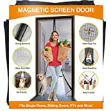 YUFER Magnetic Screen Door 36×84 Fiberglass Mesh Curtain Entry Door Screen and Full Frame Hook&Loop,Hands Free Mesh,Pet & Kid Friendly- Fits Door Size up to 36''x84'' Max…