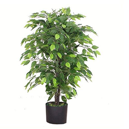Leaf Design UK Kunstpflanze / Kunstpflanze, 90 cm, buschig, schwarzer Kunststofftopf