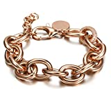 CIUNOFOR CZ Bracelet for Women Girls Wide Cuban Curb Link Bracelet Oval Bracelet Silver Rose Gold Plated Adjustable Stainless Steel Chain with Round Disc Charm