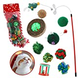 Cute Paws Christmas Cat Toy Stocking Gifts Set, 10 Pcs Cat Kitten Interactive Toy, Cat Toys for Indoor with Corrugated Paper Ball, Christmas Tree Cat Teaser, Dumb Bell, Mouse, Crinkle Balls