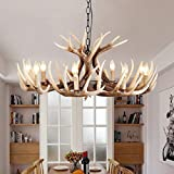 EFFORTINC Resin Antler Chandeliers 9 Light 35.4' Diameter X 16.5' Tall with 4 Feet Matching Chain(Bulbs Not Included)