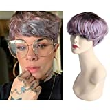 Jiayi Mushroom Hair Wig Premium Blend Pixie Cut Human Hair Wig Cosplay Short Bob Afro Curly Style Haircut Wig with Bangs for Black Women Pink Blue Color