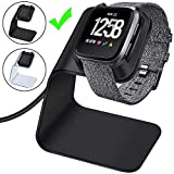 CAVN Charger Dock Compatible with Fitbit Versa/Versa Lite (Not for Versa 2), Premium Aluminum Charging Cable Cord Station Cradle Base Attached 4.2ft USB Stand Cable Smartwatch Accessories (Black)