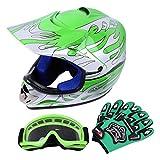 Sange DOT Youth Kids Offroad Helmet Motocross Helmet Dirt Bike ATV Motorcycle Helmet Gloves Goggles (Green, Large)