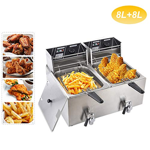 Minocool Double Cylinder 8L+8L Commercial Deep Fryer, 16 Liter Electric Commercial Deep Fryer w/2 Basket Drain & Lid, Commercial Stainless Steel Electric Deep Fryer for French Fries Fish Turkey Restaurant Home Kitchen