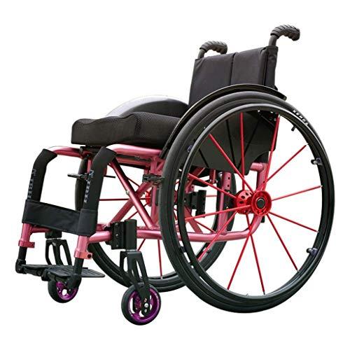 IOFESINK Walker Chair Wheelchair Tipo de Deporte Sillas de Ruedas Sillas de Ruedas con Ruedas Plegable Portátil Ligero Silla de Ruedas de Aluminio ergonómica Asiento de 100 kg Carga de cojinete