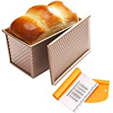 Pullman Loaf Pan and Bench Dough Scraper Set for Baking - Non-Stick Bakeware Bread Toast Mold with Cover - Carbon Steel Corrugated Baking Bread Pan with Lid