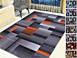 Handcraft Rugs Orange/Black/Gray Abstract Geometric Modern Squares Pattern Area Rug 5 ft. by 7 ft.