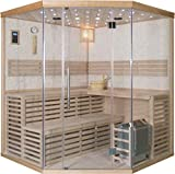 SDI Factory Direct 71' 4+ Person Canadian Hemlock Wet Dry Traditional Steam Sauna SPA + 8KW Heater with Glass Windows - 220V - LED Lighting, Bluetooth, Water Bucket + Ladle - SYMT04ASS