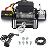 Aain'12000-lb12V Waterproof Electric Winch Kit for Truck UTV, ATU,SUV, Car with Corded Control and Steel Cable Rope (3/8'' Diameter x 92ft Length)'