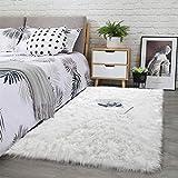 Noahas Luxury Fluffy Rugs Bedroom Furry Carpet Bedside Sheepskin Area Rugs Children Play Princess Room Decor Rug, 3ft x 5ft, White