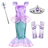 Little Girls Mermaid Princess Costume for Girls Dress Up Party with Gloves,Crown Mace 6-7 Years