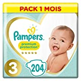 Couches Pampers Taille 3 (6-10 kg) - Premium Protection Couches, 204...