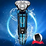Vifycim Electric Shavers for Men, Mens Electric Razor, Dry Wet Waterproof Man Rotary Facial Shaver Portable Face Shaver Cordless Travel USB Rechargeable Led Display for Dad Husband Shaving
