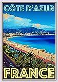 StickIt2Me Cote d_azur France Poster de voyage rétro Art déco A2