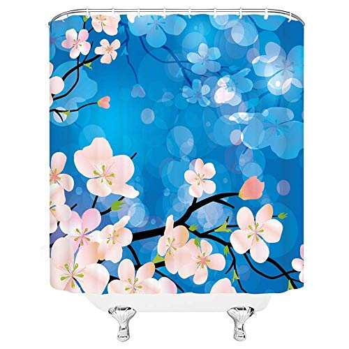 YJMSGS Floral Curtains Dogwood Tree Blossom in Watercolor Portray Impact Spring Season Theme Pinkish Tones Dwelling Room Bed room Window Drapes Set 70X 70 Blue Pink