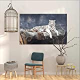 Graffiti Canvas Painting Sticker Tiger Albino Cat Sitting on Rock Sublime Nature Marvelous Animals Endangered Species Office Art Decoration Slate Blue White W27 xL19