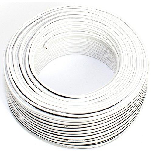 Cavo per altoparlante, 2 x 0,75 mm², 50 m, bianco, CCA