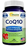 CoQ10 (400mg Max Strength, 200 Capsules) - High Absorption Vegan Coenzyme Q10 Ubiquinone Supplement Pills, Extra Antioxidant CO Q-10 Enzyme Vitamin Tablets, Coq 10 for Healthy Blood Pressure & Heart
