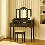 Fineboard, Black Makeup Vanity Set with LED Lights and Tri Folding Mirror Dressing Table with 7 Small Drawers & Stool