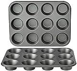 Amazon Basics Nonstick Muffin Baking Pan, 12 cups - Set of 2