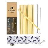 12 Pailles en Bambou de 20cm | 100% Naturelles, réutilisables,...