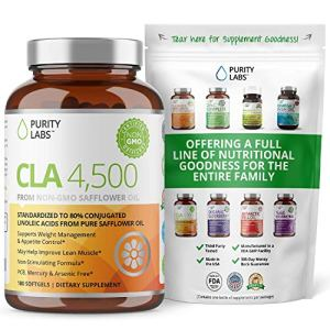 Purity Labs CLA 4,500MG Safflower Oil Number One Weight Loss Fat Burner Supplement 180 Softgels Non-GMO & Gluten Free Conjugated Linoleic Acid Pills Belly Fat Burner 11 - My Weight Loss Today