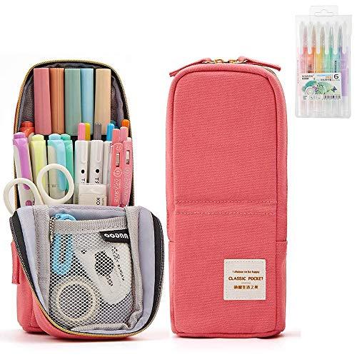 Set di Astuccio penne, 1 pezzi Astuccio per matite con 6 pezzi di colori diversi Penne a doppia...