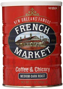 French Market Coffee, Coffee and Chicory, Medium-Dark Roast Ground Coffee, 12 Ounce Metal Can