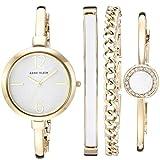Anne Klein Women's AK/3290WTST Gold-Tone Bangle Watch and Bracelet Set