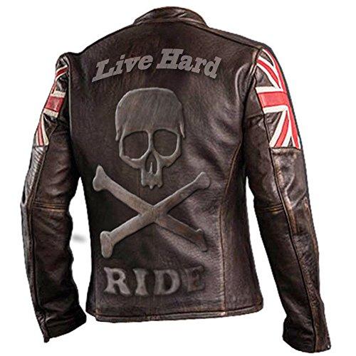 e-clothing UK Bandera Cráneo Chaqueta de Cuero Genuino Marron Oscuro- M