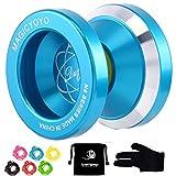 Magic YoYo N8 Unresponsive Yoyo Alloy Aluminum Yo Yo + 6 Strings + Glove+Yoyo Bag Gift (Blue)
