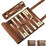 Woodronic Roll Up Backgammon Chess Checker Set, Travel Game Set of Suede Leather with Gift Packaging, Brown